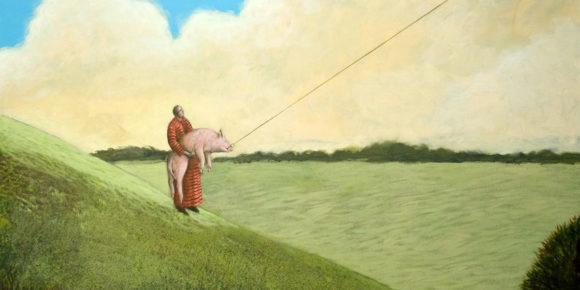 Mann mit Schwein an der Angel - Gemälde von Hinrich van Hülsen - Acryl auf Leinwand